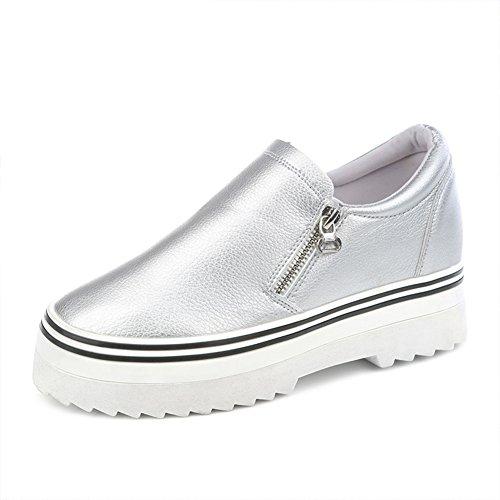 Verano plataforma lado zip zapatos zapatos de mujer/puEstudiantes perezosos con zapatos bajos B