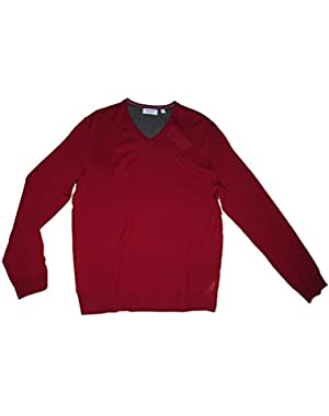Calvin Klein Italian Merion Wool V-Neck Sweater Mens Size Large Red