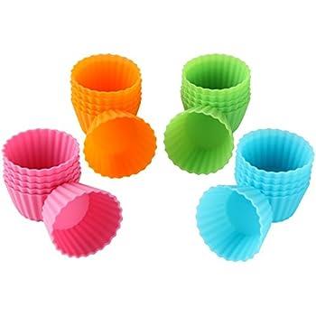 Bakerpan Silicone Mini Cupcake Holders, Mini Cupcake Liners, Pastry & Dessert Cups, 24 Pack (Colors)