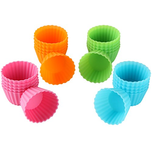 Bakerpan Silicone Mini Cupcake Holders, Mini Cupcake Liners, Pastry & Dessert Cups, 24 Pack