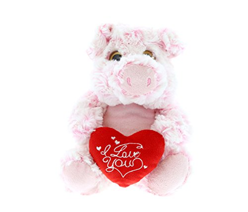 (DolliBu Sitting Pig I Love You Valentines Stuffed Animal - Heart Message - 7 inch - Super Soft Plush - Item #K5185-5998)