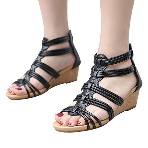 (XLnuln Women's Open Toe Ankle Strap Espadrille Sandal Fashion Flat Back Zipper Sandals Open Toe Ankle Summer High Heels)