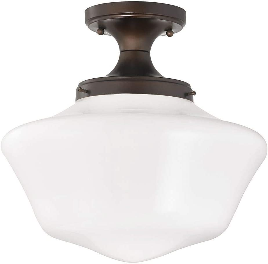 Design Classics Lighting 14 Inch Wide Retro Farm Style Schoolhouse Ceiling Light In Bronze Finish And Milk Frosted Glass Amazon Com