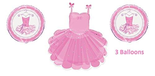 3 Ballerina Balloons - Pink Tutu Ballerina Balloons - 3 Ballet Balloons