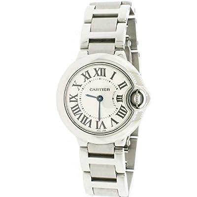 Cartier Ballon Bleu Small 28mm Steel Silver Roman Dial Ladies Watch w69010z4 (Certified Pre-Owned) from Cartier