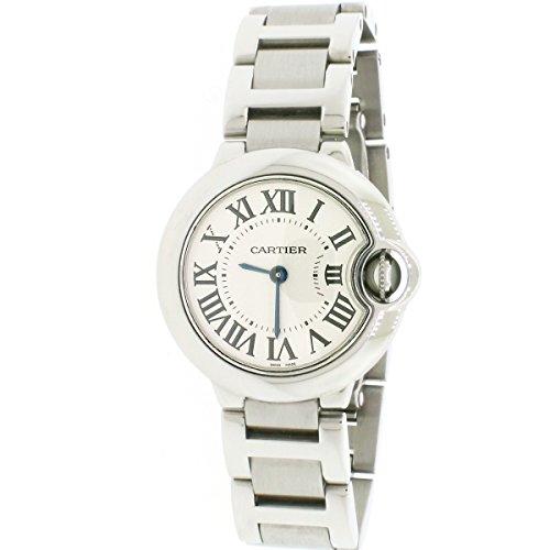 Cartier Ballon Bleu Small 28mm Steel Silver Roman Dial Ladies Watch w69010z4 (Certified Pre-Owned)