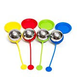 HULLR Silicone Tea Infuser With Stainless Steel Strainer, Gift Set Includes Drip Trays (Ball)