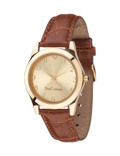 Yves Camani Durance 33mm Women's Quartz Watch Gold Dial Analogue Display Brown Leather Strap YC1058-C