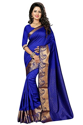 0a690733fe1bf3 J B Fashion Cotton Saree with Blouse Piece (sarees for women-115 Raj Mor  Blue Blue Free
