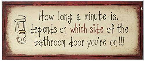 Stupell Home Décor 'How Long A Minute Is ' Bath Bathroom Wall Plaque, 7 x 0.5 x 17, Proudly Made in USA