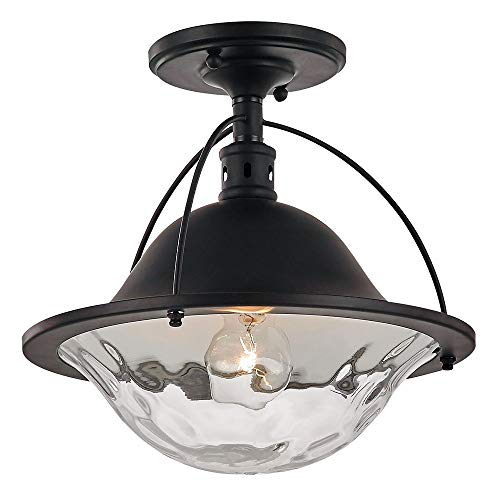 (Traditional Dark Oil Bronze Ceiling Light Fitting with Clear Rippled Glass by Happy)