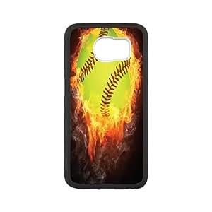 Softball Series, Samsung Galaxy S6 Case, Softball on Fire Case for Samsung Galaxy S6 [White]