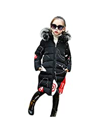 WARMSHOP Toddler Kids Girls Snowsuit Winter Warm Jacket 3-8T �� Cartoon Faux Fur Hooded Padded Thick Outerwear Long Coat