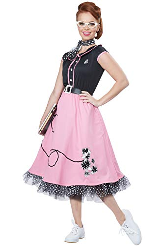 1950s Gangster Halloween Costumes (California Costumes Women's 50s Sweetheart, Black/Pink,)