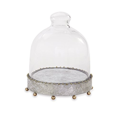 Beaded Cloche - Mud Pie 4732001 Beaded Tin Cloche Set, Gold, Silver