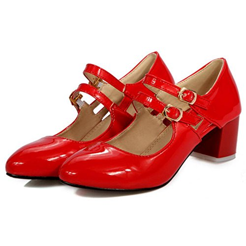 COOLCEPT Damen Mary Jane Pumps Red