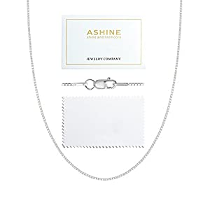 ASHINE 925 Sterling Silver 1mm & 0.8 Italian Box Chain Necklace 16″ – 30″ with Silver Polishing Cloth
