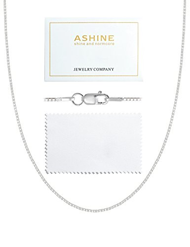 ASHINE Sterling Silver Chain Necklace for Girl 0.8mm Box Chain Lobster Clasp 17 -