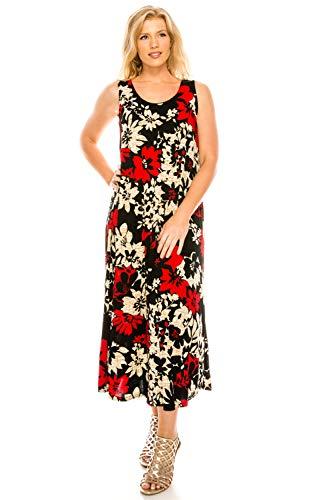 (Jostar Women's Stretchy Tank Long Dress Sleeveless Plus Print 2XL Red)
