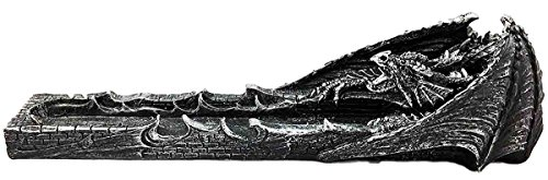 - Faux Stone Gothic Attacking Dragon Breath of Fire Incense Holder Burner Figurine