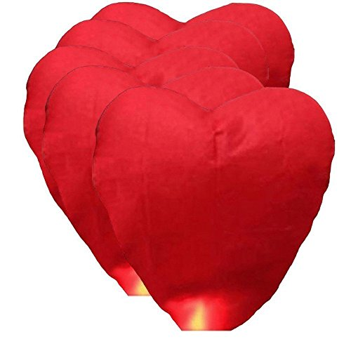 (Alrens_DIY(TM) Red Love Heart Shaped Large Chinese Sky Fly Fire Paper Lanterns Wish Balloon Wishing Lamp for Wedding Birthday Christmas Party (5, Heart Shaped))