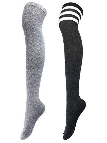 Wear Thigh High Socks - Aneco 2 Pairs Over Knee-High Socks High Thigh Warm Stockings High Boot Thigh Women Socks for Cosplay, Daily Wear