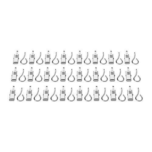 Ikea Riktig Stainless Steel Curtain Hook with Clip, 24 Count