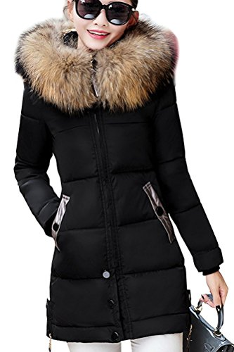 Magike Coat Warm Down Jacket Donna Jacket Hood Fur Faux Giacca invernale lunga Causal Brown Nero