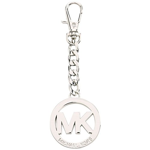 Michael Kors Signature MK Key Fob Keychain Hanging Charm (Silver)