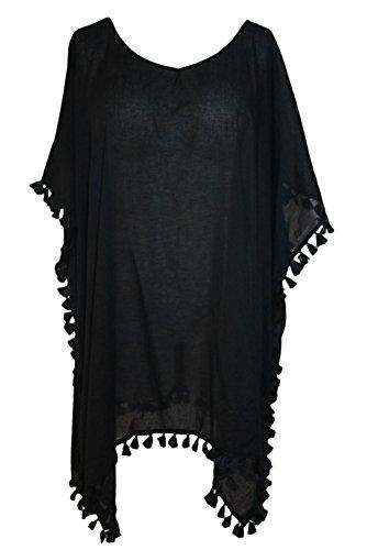 Yiyada Mujer Gafas de colores Crochet Pom Pom Tassel Hem Gauze Kaftan Traje de baño Cover-up Pareos vestidos Sarong Camisolas y pareos Negro