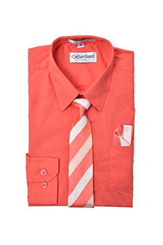 Elegant Boys Button Down Coral (717) Dress Shirt/Necktie/Hanky (6) by King Formal Wear