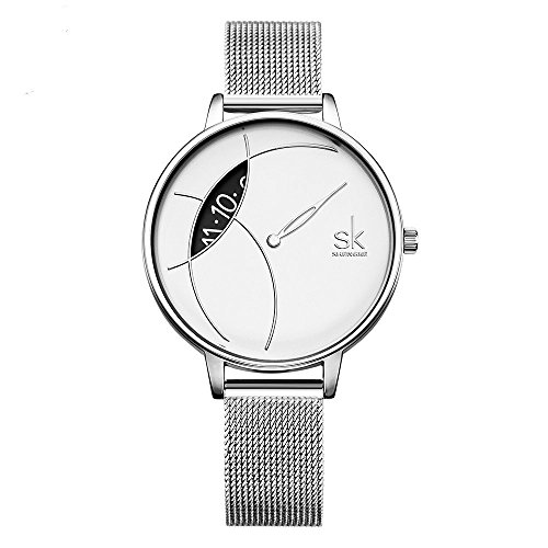 SHENGKE Elegant Simplicity Quartz Watch Mesh Band Women Watches Ladies Business Wristwatch 2018 K006L (Silver) by SHENGKE