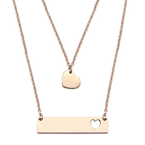 JJTZX Mother Daughter Bar Necklace Set Horizontal Bar Necklace With Cutout Heart Mommy and Me Bar Necklace Set First Day of Kindergarten Gifts (Rose gold bar set)