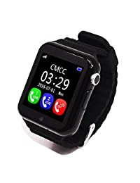 Children GPS Smart Watch V7K 1.54'' Security Anti-Lost Bluetooth Smartwatch Touch Screen Facebook SOS Emergency for Android Watch SOS Emergency Baby Watch With Camera (Black)