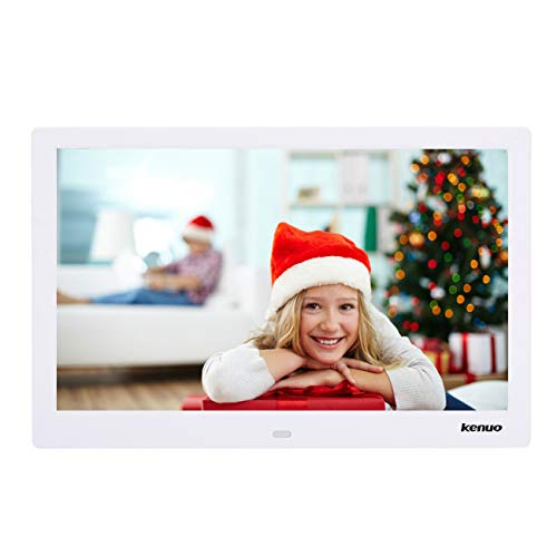 Digital Video Picture Frame 13 Inch,Kenuo 1280 x 800 HD LED Screen with Calendar, MP3/Photo/Video Player with Remote Control – White