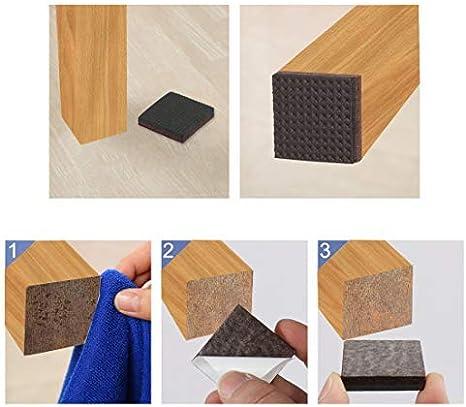 48 cojines de muebles cuadrados de fieltro antiara/ñazos para patas de silla protector de suelo color marr/ón