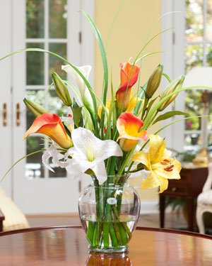 Calla & Day Lily Silk Flower Arrangement (Floral Room Dining Arrangements)