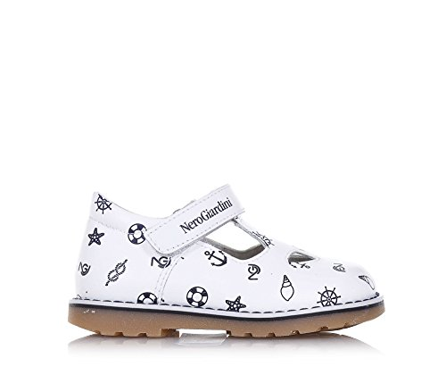 NERO GIARDINI - Chaussure blanche et bleue, en cuir, made in Italy, avec fermeture en velcro, logo sur la fermeture, garçon, garçons