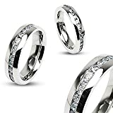 STR-0024 Stainless Steel Eternity Clear Gems Cz Comfort Fit Wedding Band Ring 4mm, 6mm, 8mm; Comes with Box (7)