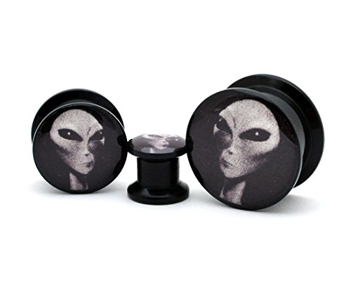 Pair of Black Acrylic Alien Picture Plugs (7/8