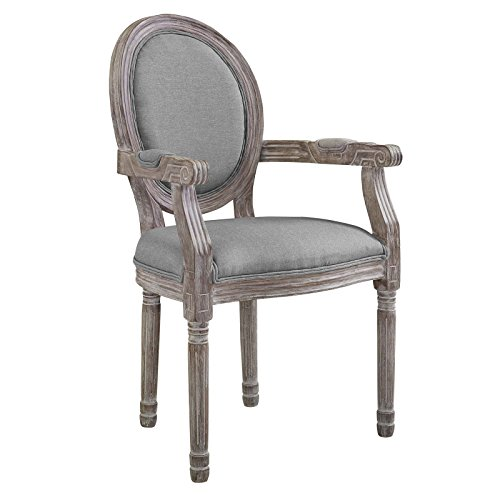 Emanate Vintage French Upholstered Fabric Dining Armchair, Light Gray (Arm Chairs Round Leg Table)