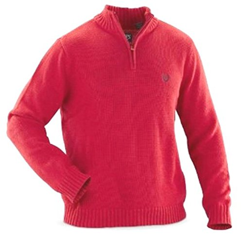 Chaps Mens 1/4 Zip Thick Cotton Pullover Sweater Size X-Large XL Burnt Orange