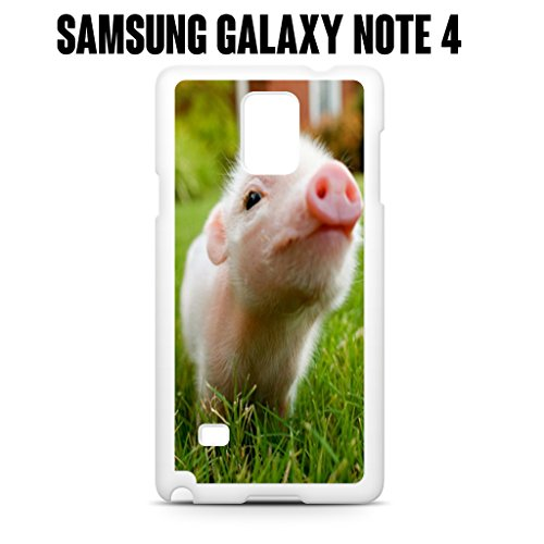 Phone Case Cute Piglet Baby Pig for Samsung Galaxy Note 4 Rubber White (Ships from CA) (Note Pig Baby 4 Case)
