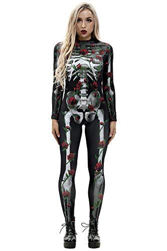 Cat Suit Fancy Dress - Selowin Women Cool Skeleton Rose Halloween