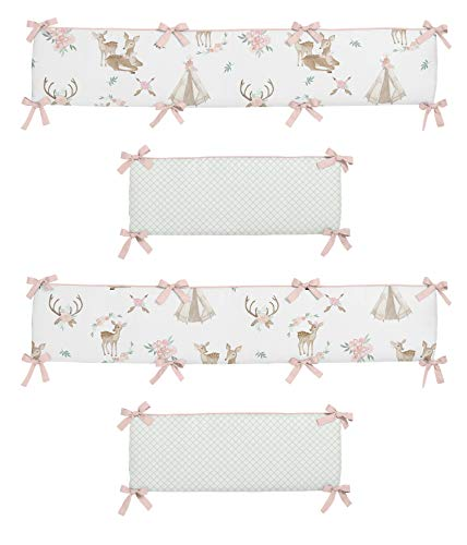 Sweet Jojo Designs Blush Pink, Mint Green and White Boho Watercolor Baby Crib Bumper Pad for Woodland Deer Floral Collection