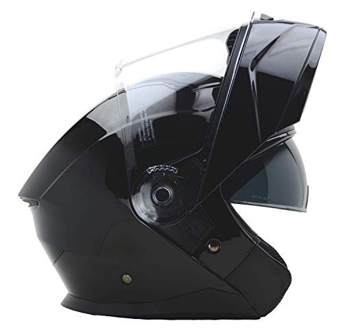 Vega Helmets Unisex Adult Flip-Up Caldera Modular Motorcycle & Snowmobile Helmet 30% Larger Shield and Sunshield (Gloss Black, Medium)