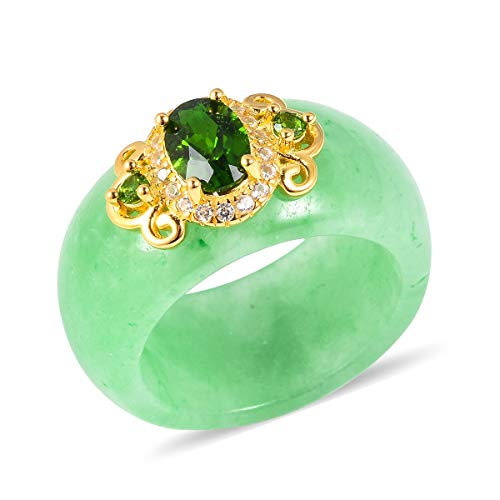 - Yellow Gold Plated 925 Sterling Silver Ring Green Jade Chrome Diopside Jewelry for Women Size 6