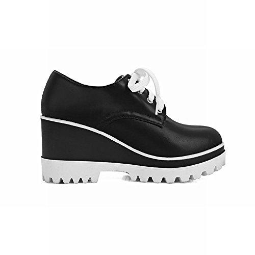 Spectacle Briller Femmes Plate-forme De Laçage Coins Talon Oxfords Chaussures Noir
