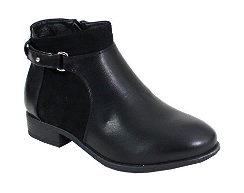 Cuir Matière Shoes Femme Daim Bottine Style Noir Bi Et By Cpq0x1HH