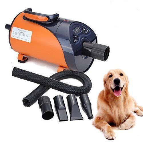 expulsor de aire portátil para perro de color naranja